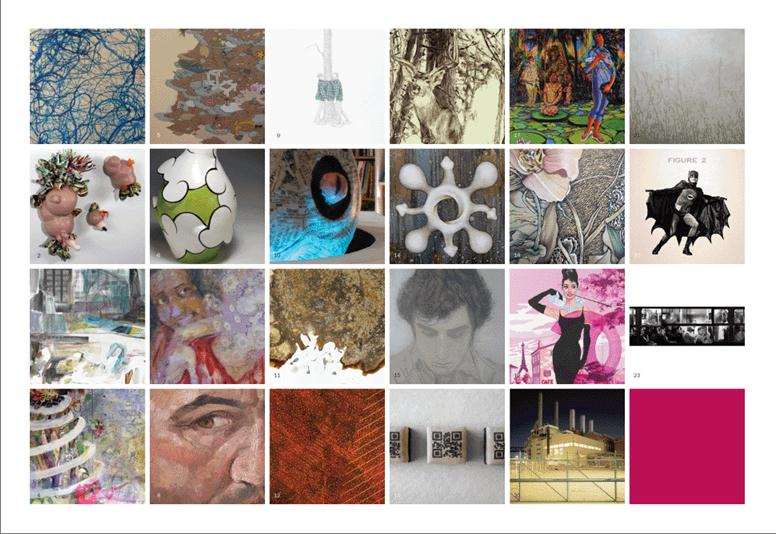 invite grid of artist work